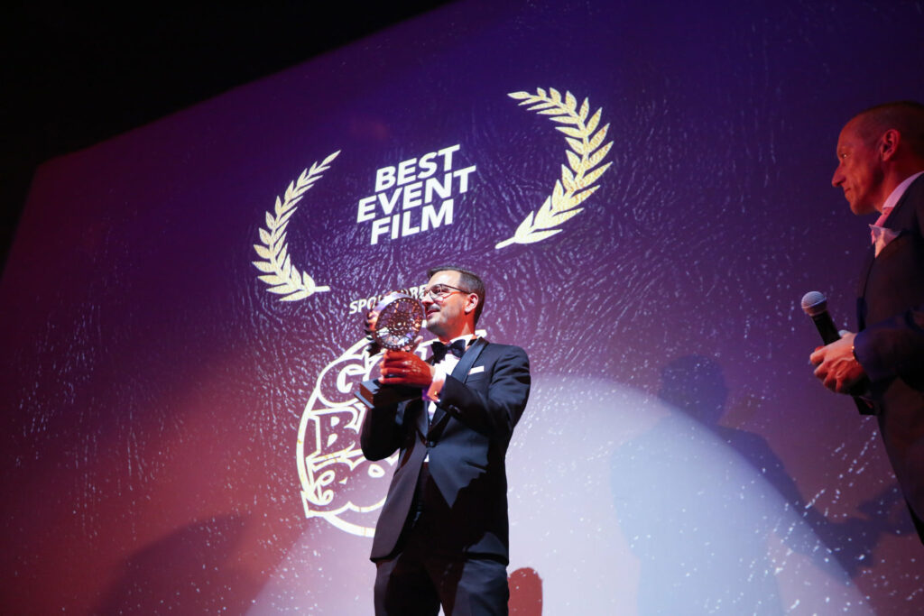 Director Tobias Kahler receiving the Award in London